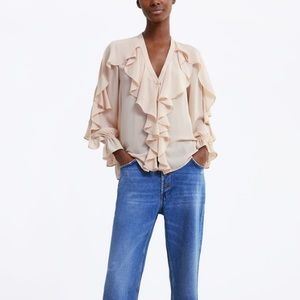 Zara beige pink ruffled blouse